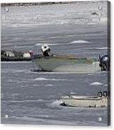 Boats And Ice Hobart Beach Ny Acrylic Print
