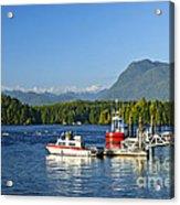 Boats At Dock In Tofino Acrylic Print