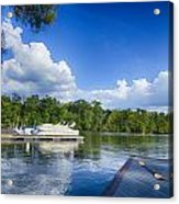 Boats At Dock On A Lake With Blue Sky Acrylic Print