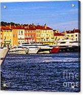 Boats At St.tropez Harbor Acrylic Print by Elena Elisseeva