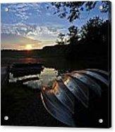 Boats At Sunset Acrylic Print