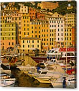 Boats At The Harbor, Camogli, Liguria Acrylic Print