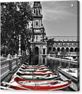 Boats By The Plaza De Espana Seville Acrylic Print by Mary Machare