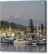 Boats Docked At A Harbor With Mountain Acrylic Print