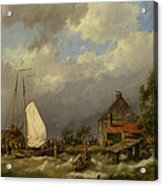 Boats Docking In An Estuary Acrylic Print