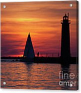 Boats Entering The Channel At The Muskegon Lighthouse Acrylic Print