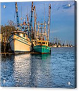 Boats In Blue Acrylic Print