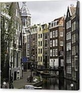 Boats In Canal Amsterdam Acrylic Print