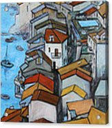 Boats In Front Of The Buildings Iv Acrylic Print by Xueling Zou
