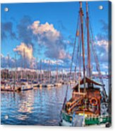 Boats In The Harbor Of Barcelona Acrylic Print