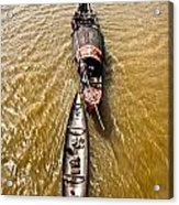 Boats In The Mekong River - Vietnam Acrylic Print