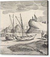 Boats On A River Bank, Jan Van De Velde II Acrylic Print