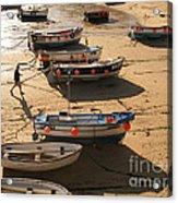 Boats On Beach Acrylic Print by Pixel  Chimp
