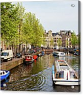 Boats On Canal Tour In Amsterdam Acrylic Print