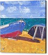 Boats On Cascais Beach Acrylic Print
