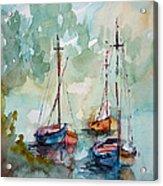 Boats On Lake  Acrylic Print