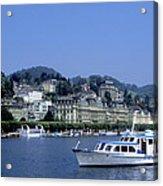 Boats On Lake Geneva Acrylic Print