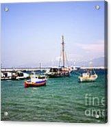 Boats On The Aegean Sea 1 - Mykonos - Greece Acrylic Print