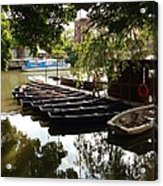 Boats On The Thames River Oxford England Acrylic Print