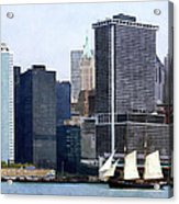 Boats - Schooner Against The Manhattan Skyline Acrylic Print