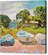 Boats Up On The Beach - Square Acrylic Print