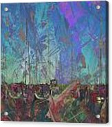 Boats W Painted Abstract Acrylic Print