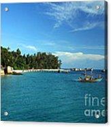 Boats With Beautiful Sea Acrylic Print by Boon Mee