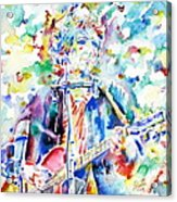 Bob Dylan Playing The Guitar - Watercolor Portrait.1 Acrylic Print