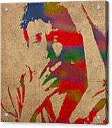 Bob Dylan Watercolor Portrait On Worn Distressed Canvas Acrylic Print