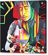 Bob Marley And Rasta Lion Acrylic Print
