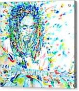 Bob Marley Playing The Guitar - Watercolor Portarit Acrylic Print