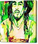 Bob Marley Watercolor Portrait.9 Acrylic Print
