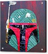 Boba Fett Star Wars Bounty Hunter Helmet Recycled License Plate Art Acrylic Print