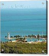 Boca Chita Lighthouse And Miami Skyline Acrylic Print