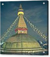Bodhnath Stupa At Night In Kathmandu Acrylic Print
