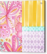 Boho Aztec Patchwork- Flower Painting Acrylic Print