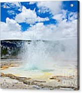 Boiling Point - Geyser Eruption In Yellowstone National Park Acrylic Print