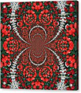 Tulips Kaleidoscope - Red And Green Acrylic Print