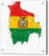 Bolivia Painted Flag Map Acrylic Print