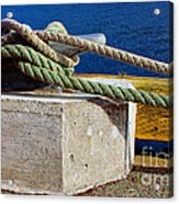 Bollard Closeup - Ropes - Mooring Lines - Wharf Acrylic Print