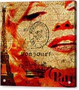 Bonjour Marilyn Acrylic Print