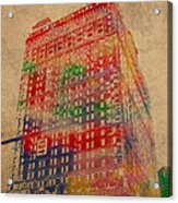 Book Cadillac Iconic Buildings Of Detroit Watercolor On Worn Canvas Series Number 3 Acrylic Print by Design Turnpike