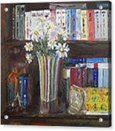 Bookworm Bookshelf Still Life Acrylic Print