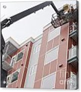 Boom Lift Worker Work Apartment Highrise Exterior Acrylic Print