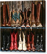 Boot Rack Acrylic Print by Olivier Le Queinec