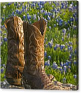 Boots And Bluebonnets Acrylic Print