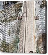 Boots On Narrow Swing Bridge Over White Water Acrylic Print