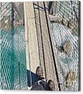 Boots On Swing Bridge Over Troubled White Water Acrylic Print