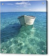 Bora Bora White Boat Acrylic Print