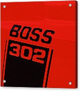 Boss 302 Emblem On A Car Acrylic Print